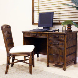 """Hospitality Rattan - Polynesian Computer Desk with Chair - The Polynesian collection is one of our fine rattan and bamboo groups. The great looking tropical wicker and bamboo barstool includes a cushion as shown. It has a commercial grade rattan bottom base, and swivels. . In addition metal glides are used on all the case good pieces. Glass is sold separately for the bedroom pieces. The dining room comes with cushions as shown as well, and can have a fabric change option that is an additional charge. This is for a desk with glass and desk chair with cushion as shown. Features: -Material: Rattan and bamboo.-Fully assembled.-Matching bedroom and dining group.-Includes: Desk with glass and chair set.-Durable, yet elegant construction.-Polynesian collection.-Distressed: No.-Collection: Polynesian.Dimensions: -Desk dimensions: 35"""" H x 48"""" W x 20"""" D.-Chair dimensions: 38"""" H x 21"""" W x 23"""" D.-Overall Product Weight: 107 lbs."""
