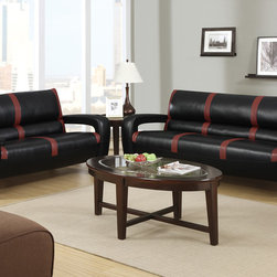 Modern Black Red Leather Sofa Couch Loveseat Living Room Set Poundex - A state-of the-art design is presented with this 2-piece sofa set upholstered in bonded leather and simple stripe accents. This ultra modern piece also includes L-shaped side arms trimmed in a dark brown finish with shiny silver rounded leg supports making it the quint essential piece for anyone looking to add a futuristic vibe to their home living space.
