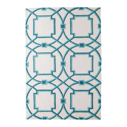 Global Views - Global Views Arabesque Aqua rug - An aqua blue Moroccan-inspired pattern pops against the Arabesque rug's ivory background. Graphic and bold, this Global Views floor covering delivers the modern interior geometric panache. Available in several sizes; 100% wool pile; 100% cotton backing; Hand-tufted