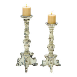Benzara - Wooden Candle Holder in Contemporary Rubbed Finish - Set of 2 - Featuring an elegant design, this Wooden Candle holder includes a set of candle holders that are detailed to perfection. The holders sport a vivacious design and complemented with a rubbed finish, that adds a quaint traditional style to the appearance. Ideal for enhancing the appeal of transitional and casual settings, these candle holders are made from wood and have beveled designs that include globular accents. Thanks to the elegant finish, these candle holders can be incorporated into varied settings while adding a warm touch to home interiors. The elaborate carving adds a very attractive appearance. This holder gives ample support to the candle and is free from wobbling. It is available in 2 size variants - 17 in.  H x 8 in.  W x 8 in.  D, 20 in.  H x 8 in.  W x 8 in.  D.