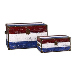 "Household Essentials - Redwhite & Blue Stripe Design Trunk/Jumbo And Medium - Decorative storage trunks are so much more than just decoration they are a fast and easy way to redesign your space.  Available in a variety of sizes to create versatile storage options that meet your needs.  This set comes with 1 jumbo trunk and 1 medium trunk. The jumbo trunk is large enough to double as a small coffee table.  Details:Set of two: jumbo and mediumMade of sturdy composite.  Finished with shimmer decoupage.Faux leather and brass accents.Polypropylene liner you can wipe it clean with a damp cloth.Attached lid.Front closure secures lid. Color: Red white and blue Dimensions:Jumbo - 19.2lbs.15.75""h s 27.2""w x 16.93""d 40cm x 69cm x 43cm Interior15""h x 26""w x 16""d38.1cm x 66cm x 40.6cm Medium - 7.7lbs.8.85""h x 19.29""w x 11.02""d22.6cm x 49cm x 28cm Interior8""d x 18.5""w x 10.25""d20.3cm x 47cm x 26cm"