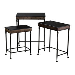 Cyan Design - Cyan Design Empire Nesting Tables (Pack of 3) X-50610 - Traditional influencing has been paired with an elegant Old World finish on this set of three Cyan Design nesting tables. From the Empire Collection, this pack of three tables features a blend of iron and wood construction, with just the right amount of ornate detailing to draw your eye in.