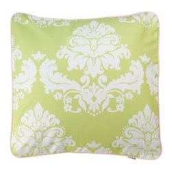 Serena & Lily - Caroline Euro Sham - Coordinating euro sham in sprout damask with pink piping.