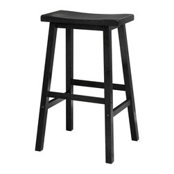 "Winsome Wood - Winsome Wood 20089 Saddle Seat 29 Inch Black Stool Single in Black - Contemporary Saddle seat 29"" wood counter height stools in natural wood finish. Solid wood construction of natural hardwood. Ships ready to assemble with all hardware and tools included. This new style seat is comfortable and sleek."