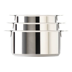Cristel - Cristel Strate L Brushed Stainless 3-Piece Sauce Pan Set w/Lids - The base is made out of an alloy of stainless steel and aluminum. The heat is simultaneously spread over the whole surface of the base and sides. For gentle, economic cooking with no risk of sticking and protecting all the nutritional qualities of food. Multicooking: suitable for all cooking cooktops; can also be placed on the oven (with or without the lid). Simplicity: In one easy gesture the handle goes from the saucepan to the pan, the frying pan and on lids with automatic locking. Compact Storage: Parts can be fully nested inside one another thereby saving space and masking easier for dishwasher loading. Safety: the removable automatic locking handle ensures dual safety. With no projecting handle the cooking space is made safe meaning there is no risk of children's hands or aprons catching on it. Brushed finish. Assort handle colors and finishes are available. Inside grading. Dishwasher safe.. Set includes:    (01) 1.8-qt. Sauce pan with lid    (01) 2.5-qt. Sauce pan with lid    (01) 3.4-qt. Sauce pan with lid    (01) Bonus Strate Long Handle    (02) Bonus Strate Side Handles. Made in France. Glass on lid is made in Japan.