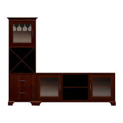 Howard Miller Custom - Hanna cabinet w 3 Doors in Newport Cherry - This cabinet is finished in Newport Cherry on select Hardwoods and Veneers, with Antique Bronze hardware. Console:. 2 doors with plain Glass. 3 adjustable interior shelves. Tower:. 1 door with plain Glass and 2 flat panel drawers. 1 cross storage shelf and 1 stemware rack. Cove profile top on tower, flat profile top on console and cove profile base. Hardware: bar pulls on doors and drawers. Features soft-close doors, metal drawer glides, and metal shelf clips. Simple assembly required. Console: 70 3/4 in. W x 16 in. D x 29 1/2 in. H. 27 1/4 in. W x 17 in. D x 78 1/2 in. H