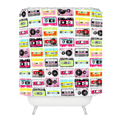 DENY Designs - Jennifer Denty Retro Cassettes Shower Curtain - Who says bathrooms can't be fun? To get the most bang for your buck, start with an artistic, inventive shower curtain. We've got endless options that will really make your bathroom pop. Heck, your guests may start spending a little extra time in there because of it!