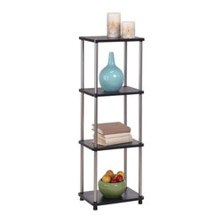 Convenience Concepts - 4-Tier Tower (Black) - Color: BlackSturdy 16 mm thick particle board with woodgrain melamine veneer shelves. 22 mm stainless steel clad posts for strength. Limited warranty. Assembly required. 17.7 in. W x 11.8 in. D x 42.5 in. H (19.5 lbs.)