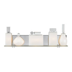 LBL Lighting - Lola -  Bath Bar | LBL - LBL Lighting Lola Bath Bar features�_a metal base featuring five perfume bottle-shaped glass shades resting on a frosted glass shelf. Each perfume bottle is topped with a decorative crystal detail.�_Mounts horizontally only. Manufacturer:�_LBL LightingSize:�_24 in. width x 8.9 in. height x 4 in. wall projection Light Source:�_5 x 40 watt 120V G9 base halogen lamps - included Certifications: UL Location:�_Damp Dimmable�_with standard incandescent dimmer - not included