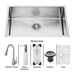 Vigo - Vigo Undermount Stainless Steel Kitchen Sink, Faucet, Colander, Grid, Strainer - Vigo keeps your needs in mind when it comes to kitchen essentials.