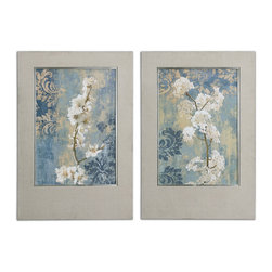 Uttermost - Blossoms Framed Art Set of 2 - Twice as nice. Gorgeous white blossoms set in linen fabric frames will add an elegant grace note to your formal interiors. The soothing color palette blends beautifully with deeper wood finishes like mahogany or espresso.