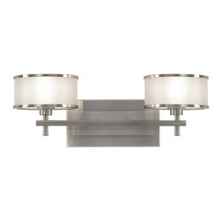 Murray Feiss - Murray Feiss Casual Luxury Bathroom Lighting Fixture in Brushed Steel - Shown in picture: Casual Luxury Vanity Strip in Brushed Steel finish with Silver Organza'Hardback shade w/fabric