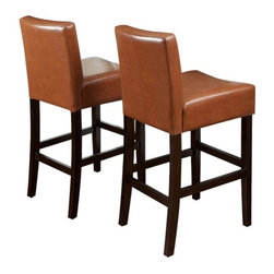 "Home Loft Concept - Classic Leather Bar Stool (Set of 2) - These soft, comfortable bar stools are made with brown colored bonded leather and espresso stained legs making them the perfect transitional piece from your kitchen to your living room. Features: -Espresso stained legs. -Sturdy wooden legs and frame. -Simple yet elegant design. -Extra padding for ideal comfort. -Classic reinforced stitch. -Perfect transitional piece between kitchen and living room. -Assembly required. -Manufacturer provides 90 days warranty on defect. -Dimensions: 41.73"" Height x 17.72"" Width x 23.62"" Depth."