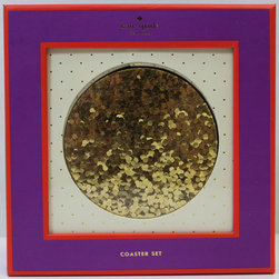 Kate Spade New York - Kate Spade New York Coasters Glitter Gold - When has glitter and functional ever been used in the same sentence? Glittery coasters will keep your desk ringless and leave the rings for the fingers. Coaster set includes 4 resin coasters.