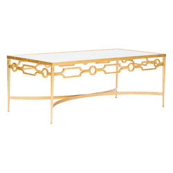 Grace Coffee Table, Gold - The Grace Coffee Table featured umber finished ironwork with gold leaf, and variegated marble top.
