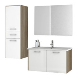 ACF - 33 Inch Glossy White and Larch Canapa Bathroom Vanity Set - Set Includes: Vanity Cabinet (2 Doors).