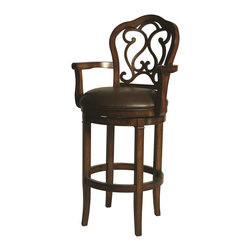 "Pastel Furniture - Pastel Furniture Fontana Traditional Accent Chair X-589-CD-03-722-TF - This handsomely crafted Fontana wood barstool features a quality wood finish in Distressed Cherry with sturdy legs and foot rest. An ideal way to add a touch of traditional flair to any dining or entertaining area in your home. The padded seat is upholstered in Leather Ridge offering comfort and style. (Available in 26"" counter height or 30"" bar height.)"