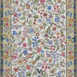 """Kas - Country & Floral Colonial 1'8""""x2'6"""" Rectangle Ivory Area Rug - The Colonial area rug Collection offers an affordable assortment of Country & Floral stylings. Colonial features a blend of natural Ivory color. Hand Hooked of 100% Wool the Colonial Collection is an intriguing compliment to any decor."""