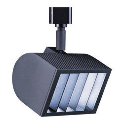 "WAC - Contemporary WAC Quartz 150 J Black Track Head for Juno - High-output wall wash line voltage luminaire. Black finish. Die-cast aluminum construction. Louver for glare control. Includes one 150 watt bulb. Ball and hub aiming. For use on Juno track lighting systems. 7"" high. 5"" wide. 3"" deep.   High-output wall wash line voltage luminaire.  Black finish.  Die-cast aluminum construction.  Louver for glare control.  Includes one 150 watt bulb.  Ball and hub aiming.  For use on Juno track lighting systems.  7"" high.  5"" wide.  3"" deep."