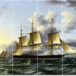 Picture-Tiles, LLC - The American Clipper Architect Tile Mural By James Buttersworth - * MURAL SIZE: 36x48 inch tile mural using (12) 12x12 ceramic tiles-satin finish.