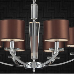 Iluminación Residencial - Crystal, glass and iron 6 light contemporary chandelier, focal point for your trendy decor.