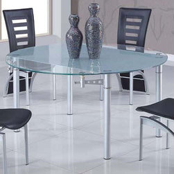 Global Furniture - 135DT Dining Table - Clear/Silver - 135DT Dining Table - Clear/Silver