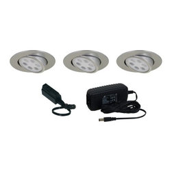 Jesco Lighting - Jesco Lighting KIT-PK756-A Adjustable Round LED Slim Under Cabinet Disk Kit - Jesco Lighting has built a solid reputation on quality, service and value. An expanded product offering includes a broad range of indoor and outdoor lighting products. All are available in various energy-efficient lamp sources and options exist for a multitude of power supplies and accessories allowing you to customize according to your project needs.Adjustable round led slim disk kit - silver. 3000k. Includes three 6w recessable, long lasting, led fixtures and a wall plugged power supply. Constructed of machined die cast aluminum, led slim disks are to be recessed mounted. Energy efficient led slim disks have a long operating life of 50,000 hours and do not contain mercury or uv radiation that can be harmful to items on display or woodwork. Please note: slim disks are not intended for use in wall or ceiling applications.Features: