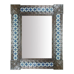 """Large Aged Tin & Tile Mirror - Add a bright and beautiful addition to any southwest, Santa Fe, or Spanish colonial style room with this Mexican tin mirror with inlaid Talavera tiles. All of our aged tin mirrors are hand tooled by talented Mexican metal craft artists. Visit our website for more. Some variations in color, design and size may occur as each is unique. 31"""" x 25"""" Free Shipping in Continental U.S."""