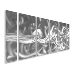 Pure Art - Resolute Reckoning Handcrafted Metal Wall Hanging Set of 6 - Radiant beauty and class! Satisfy your innermost longings for adventure with the Resolute Reckoning Handcrafted Metal Wall Hanging Set of 6. This amazing set of metal wall art is perfect for amply decorating large walls in your home with contemporary style and design. Aluminum wall sculpture has been hand painted using combinations of silver on silver to explode with depth and character. Metal wall hanging set has been hand crafted using only the finest of materials by expert craftsman. You can create a focal area on any wall of your modern home when you choose this exquisite set of panels for your home or officeMade with top grade aluminum material and handcrafted with the use of special colors, it is a very appealing piece that sticks out with its genuine glow. Easy to hang and clean.