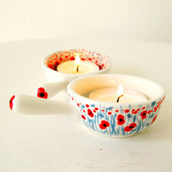 Hand-Painted Tea Light Candleholders, Poppy Sea Twins by RoooTreee - This red and blue poppy pattern is hand painted on bone china tea light holders. Wowza, right? How are people so talented to paint like that on a teeny tea light?