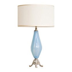 Lighting By Lucia - Blue Murano Lamp - Spirited sky blue Murano glass and silver leafed lamp with ecru taffeta drum shade. Handcrafted with an artist's eye, Danielle Lucia Schaffer salvages vintage pieces, including turn of the century glass and antique hardware, and transforms them into stylish contemporary designs with her signature silver leafing. Each piece is unique and a part of the past, present and future. Measures 26.5 inches high, 16 inches in diameter.