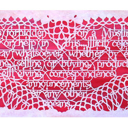 """Illicit Celebration I"" (Original) By Melanie Kehoss - This Paper-Cut Piece Features A Translation Of An Official Stance Against The Celebration Of Valentine'S Day (From The Islamic Republic Of Iran). Cut Paper Calligraphy And The Patterned Border Simultaneously Refer To Islamic Art And Victorian Valentines. Islamic Governments Have Taken Varying Degrees Of Action Against People Who Observe Valentine'S Day As It Grows In Popularity. See Illicit Celebration Ii, Its Companion Piece.  Mounted."