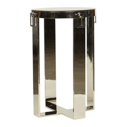 Prima Design - Flat Steel Side Table with Hardware Drops - This accent table does just that, accents a room with a one-of-a-kind style and d�cor, bringing a contemporary touch to any room.