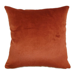 "The Pillow Collection - Juno Plain Pillow Rust 18"" x 18"" - Luxurious and elegant, this throw pillow is a perfect addition to your home decor collection. This rich colored accent pillow features a rust hue with soft texture. This decor pillow is great for formal and casual settings. Mix in patterns like toiles, geometric and florals to add a chic vibe. This square pillow comes with a sheen and made from 100% plush velvet fabric. Hidden zipper closure for easy cover removal.  Knife edge finish on all four sides.  Reversible pillow with the same fabric on the back side.  Spot cleaning suggested."