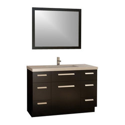 """Design Element - Moscony 48"""" Single Sink Vanity Set, Espresso - The Moscony 48"""" single-sink vanity is uniquely constructed of quality woods simple lines and a dark espresso finish complemented by a beautiful quartz countertop and rectangular under-mount sink. Being twice as hard as granite harder than steel and titanium and possessing a hardness just below that of gemstones quartz is an ideal material for countertops. It's hygienic because bacteria can't penetrate the surface and practically maintenance-free since no sealing polishing or reconditioning is required. Moreover quartz doesn't stain and is more heat-resistant than other countertop materials. This modern vanity is well equipped with four pullout drawers (one in each corner) and three soft-closing cabinet doors (across the middle of the vanity). A framed matching espresso mirror is also included."""