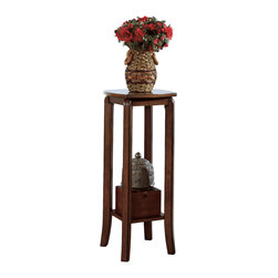 Monarch Specialties - Monarch Specialties 1592 Square Plant Stand in Walnut - This simple transitional plant stand will not only look great in your vestibule, but can also be an ideal spot to place your keys and purse after a long day at work. With its smooth lines and square legs, this walnut finished piece, constructed in solid hardwoods and veneer, will blend into any decor.