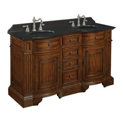 World Imports - Belle Foret 60in. W Double Basin Vanity, Dark Cherry - 36 in H and 60 in W vanity provides the storage and counter space needed for larger spaces