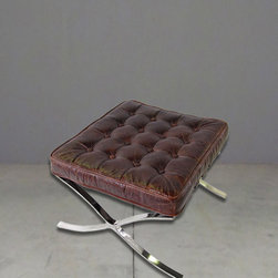 barcelona inspired footstool - view this item on our website for more information + purchasing availability: http://redinfred.com/shop/category/furnish/ottomans-benches/barcelona-inspired-foot-stool/