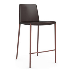 Boheme Leather Counter Stool, Matte Steel Coffee
