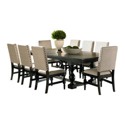 """Steve Silver Furniture - Steve Silver Leona 10-Piece Dining Room Set in Dark Hand Rubbed - The classic, Contemporary style of the Leona collection combines a deep Acacia veneer finish with light, airy touches for a modern dining experience. The trestle table base with its decorative legs supports the sturdy top to provide a dining table that will comfortably seat eight with the included 18"""" leaf. The table measures 44""""W x 78""""L x 30""""H without the leaf and 44""""W x 96""""L with the leaf inserted."""