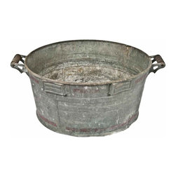 Galvanized Wash Tub - Large vintage galvanized wash tub with red paint detail and wood handles.Hooks on one side to attach a washboard. Not watertight, there are two small pinholes in the bottom.