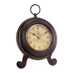 """IMAX - Brown Iron Desk Clock - Charming round brown iron desk clock, with yellow face, roman numerals, rests on easel Item Dimensions: (7""""h x 5.25""""w x 5"""")"""