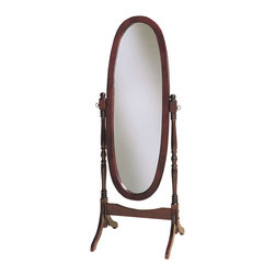 Powell - Powell Heirloom Cherry Cheval Mirror - Heirloom Cherry finished reproduction of the cheval mirrors found in homes before the turn of the century. Adjustable full-length mirror tilts to any angle. Some assembly required.
