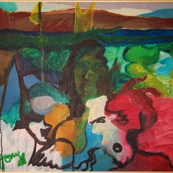 """The Spirit Moves"" (Original) By Tony  Knaak - I Created This Painting By Painting Over Another Painting (Gasp!), Keeping Certain Elements Of The Landscape.  The Figures Are My Own Inspiration.  I Think It Shows A Family, In Spirit."