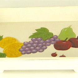 Wayborn - Wooden Party Tray w Fruits Accent in Cream - Made from Cedar plywood. Carved with a smooth finish. 17 in. L x 12 in. W x 4 in. H (6 lbs.)