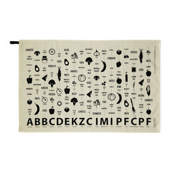 Modern 100% Cotton Food Guide Towel - Nutritious eating just got a whole lot easier. This 100% cotton tea towel is printed with a deliciously designed infographic of the vitamins and nutrients found in different foods. A nutritional alphabet runs across the bottom of the towel, with representative fruits, vegetables and more in a vertical line above them. Perfect for experienced cooks or aspiring foodies, it is both a handy reference and a tasteful kitchen accent.