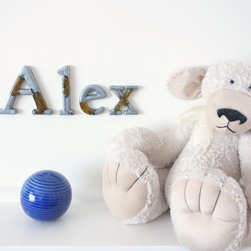 Boys name sign Alex in silver and yellow resin letters -