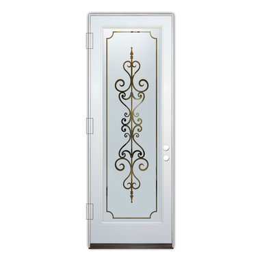 Sans Soucie Art Glass (door frame material Plastpro) - Glass Front Entry Door Sans Soucie Art Glass Carmona - Sans Soucie Art Glass Front Door with Sandblast Etched Glass Design. Get the privacy you need without blocking light, thru beautiful works of etched glass art by Sans Soucie!  This glass is semi-private.  (Photo is view from outside the home or building.)  Door material will be unfinished, ready for paint or stain.  Bronze Sill, Sweep.  Satin Nickel Hinges. Available in other finishes, sizes, swing directions and door materials.  Dual Pane Tempered Safety Glass.  Cleaning is the same as regular clear glass. Use glass cleaner and a soft cloth.