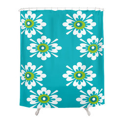 Crash Pad Designs - Renee Pedro Bari Shower Curtain - The fun doesn't have to stop at the bathroom door. Our funky shower curtain will make your bathroom smile.