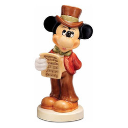 Goebel - Goebel Harmony in Four Parts Mickey Mouse Porcelain Figurine - Crafted in Germany of delicate porcelain, this Goebel figurine stands at 4.25 inches tall. The design of this figurine features Walt Disney's Mickey Mouse holding sheet music with Tinkerbell backstamp.